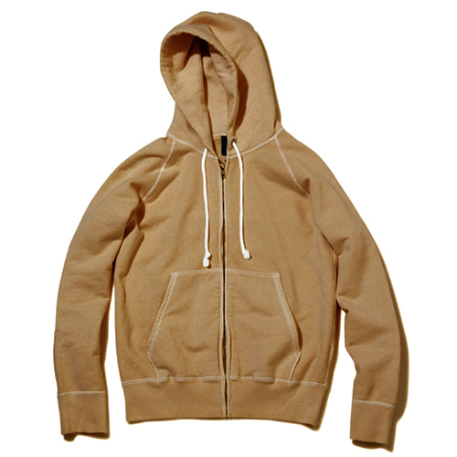 Raglan Zip Hood Sweat - P-Mocha