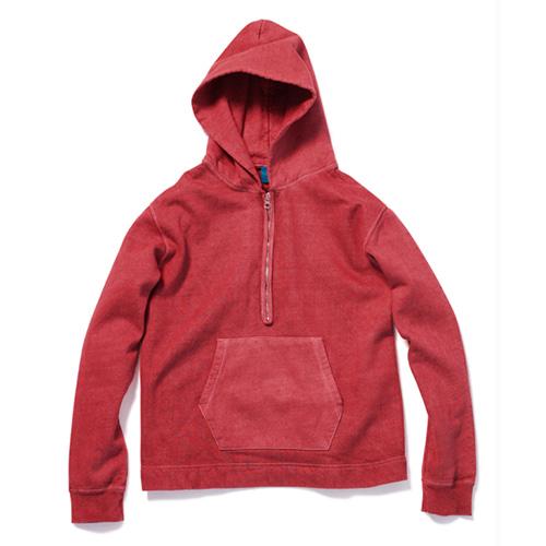 Rough 1/2 Zip Po Hood Sweat - P-F.Red