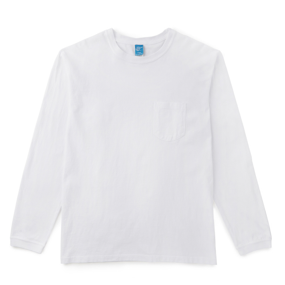 Pocket Long T-Shirts - P-White