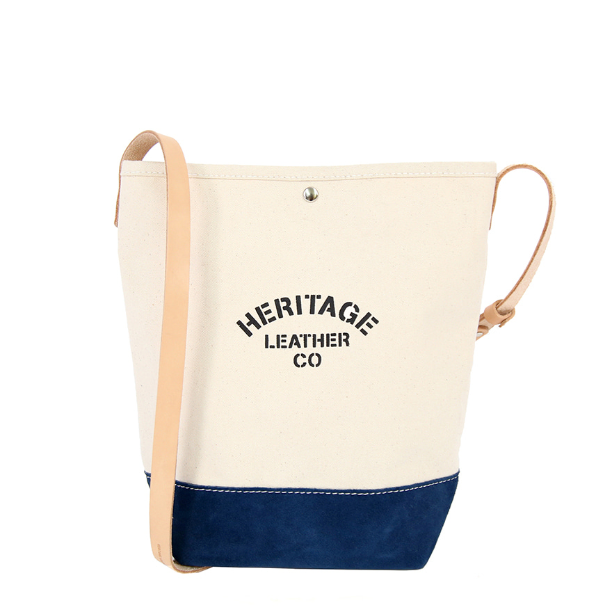Suede Bucket Shoulder - Natural / Navy