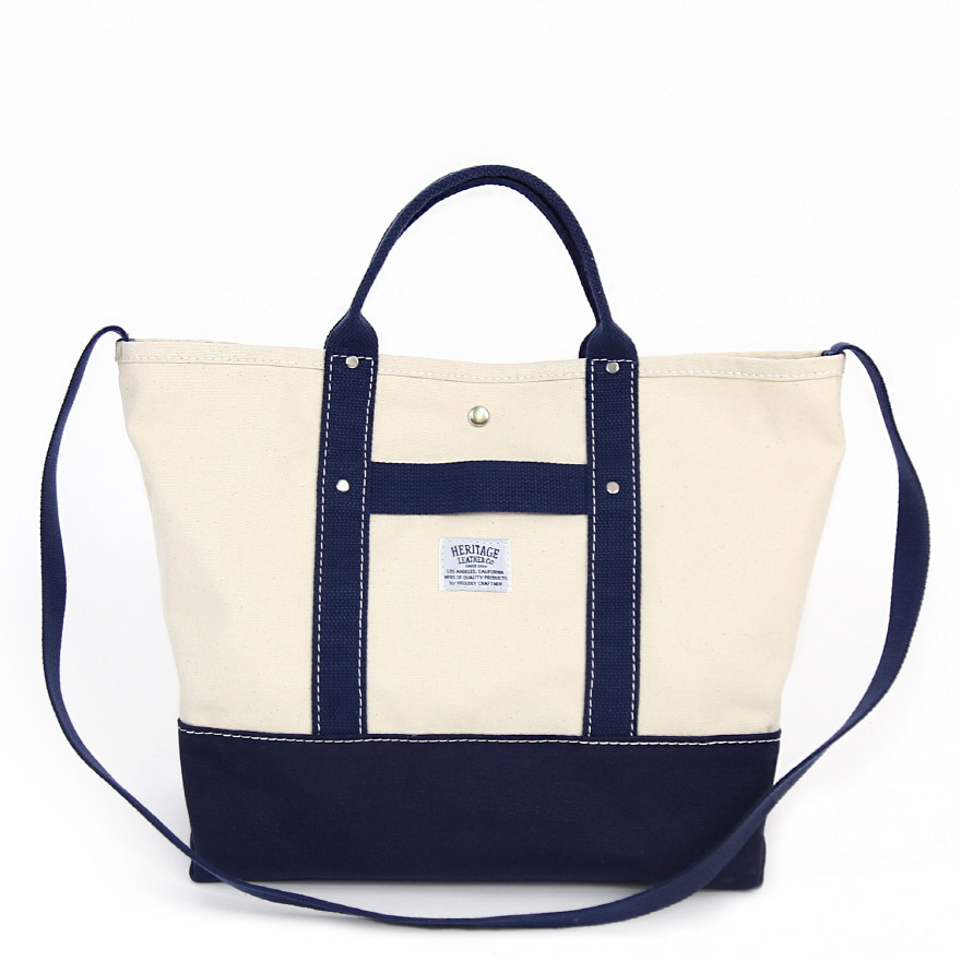 Canvas Pop Tote - Natural / Navy