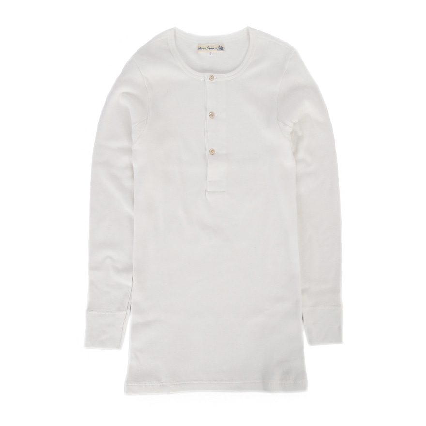 506 Henley Neck Long Sleeve - White