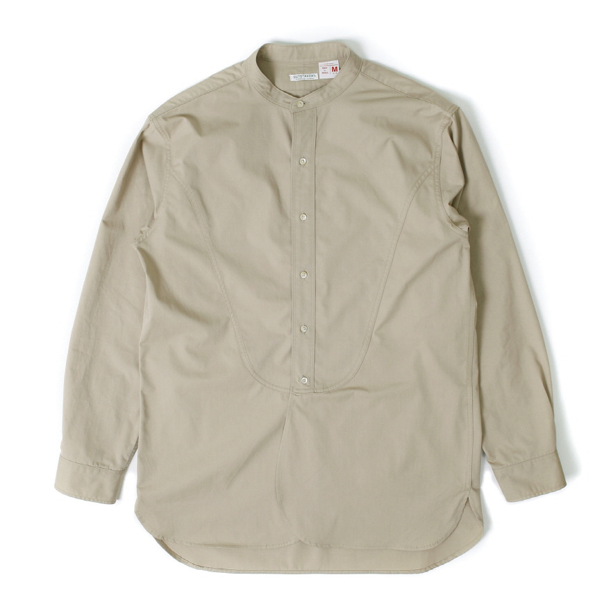 Band Collar Long Shirts - Beige