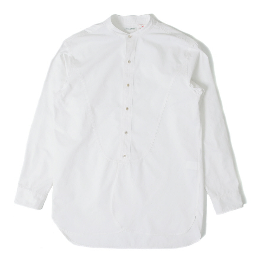 Band Collar Long Shirts - Off White