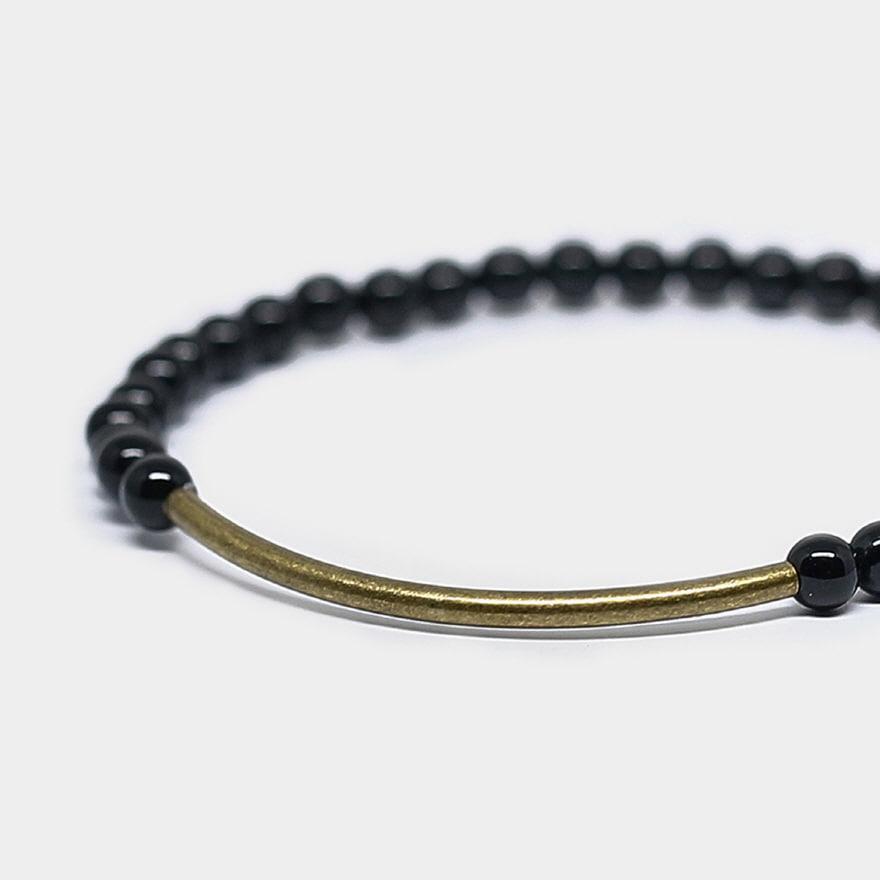 Tubular Bracelet_Brass - Black Onyx