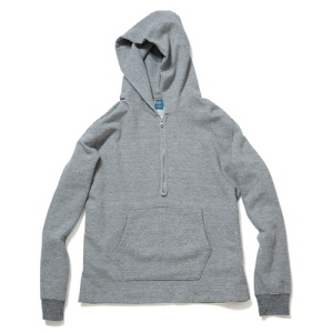 Rough 1/2 Zip Po Hood Sweat - Metal