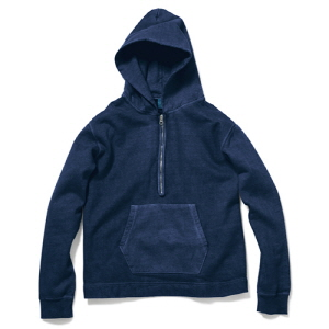 Rough 1/2 Zip Po Hood Sweat - P-Navy