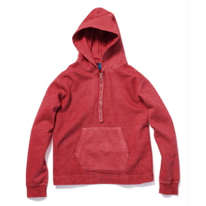 Rough 1/2 Zip Po Hood Sweat - P-F.Red