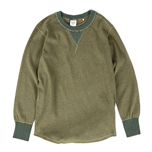 Heather Rib Stitch Gasset Tee - Olive Drab