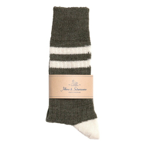 S75 Socks With Stripes - Army/Nature