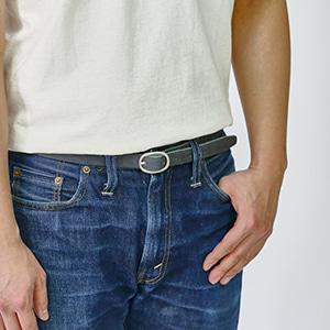0.75inch Leather Belt - Black